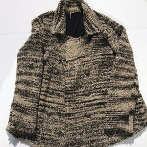 Free People lined Black and Tan sweater sz L